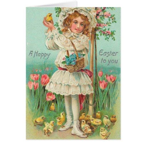 Happy Easter Girl Vintage Card