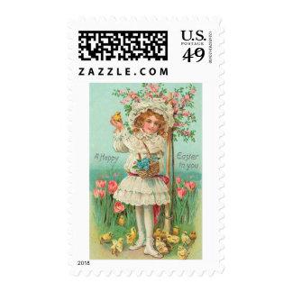 Happy Easter Girl Vintage Stamps