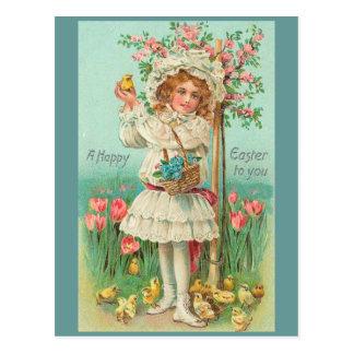 Happy Easter Girl Vintage Post Cards