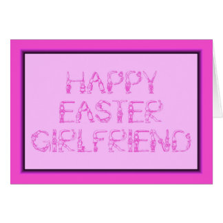 HAPPY EASTER GIRLFRIEND BUNNY RABBITS PINK CARD