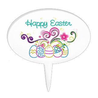 Happy Easter Glitter Eggs & Floral Cake Topper