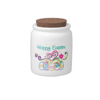 Happy Easter Glitter Eggs & Floral Candy Jar