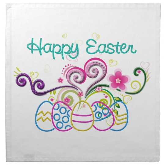 Happy Easter Glitter Eggs & Floral Cloth Napkin