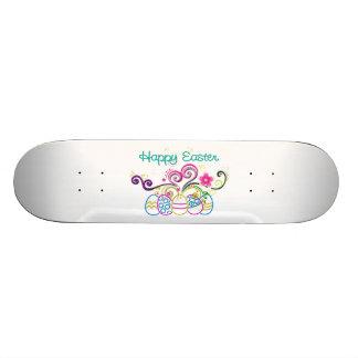 Happy Easter Glitter Eggs & Floral Skateboard