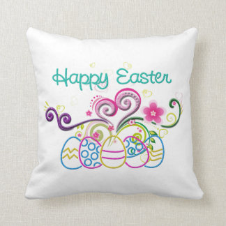 Happy Easter Glitter Eggs & Floral Throw Pillow