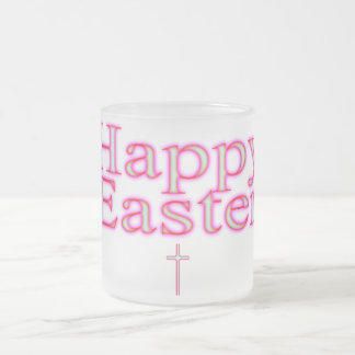 Happy Easter Glow Frosted Glass Coffee Mug