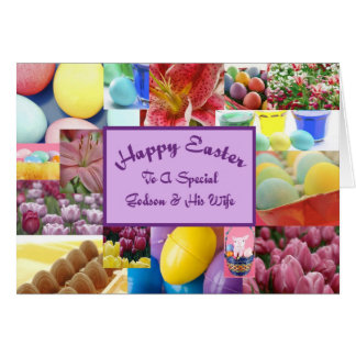 Happy Easter godson and his wife Card