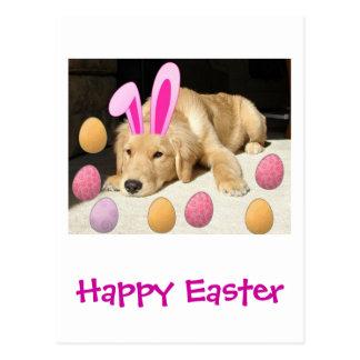 Happy Easter Golden Retriever Postcard