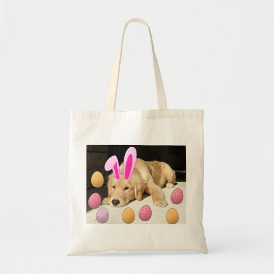 Happy Easter Golden Retriever Tote Bag