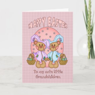 Happy Easter - Grandchildren - Cute Teddy Bear In card
