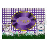 Happy Easter Grandson - Bunnies and Eggs Greeting Card