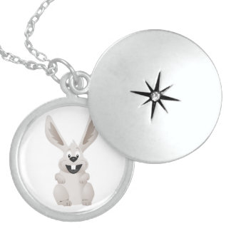 """""""HAPPY EASTER """" GRAY BUNNY STERLING SILVER NECKLACE"""