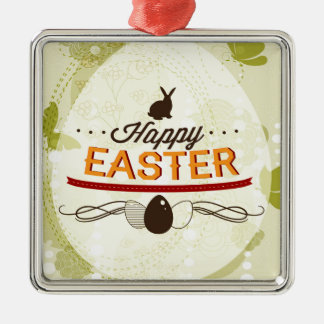 Happy Easter Green Square Metal Christmas Ornament