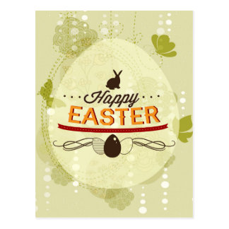 Happy Easter Green Postcard
