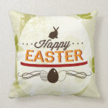 Happy Easter Green Throw Pillow