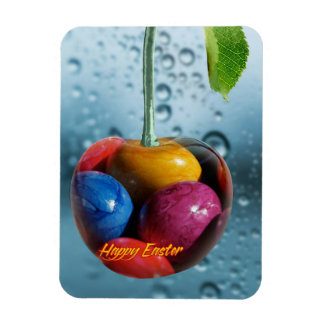 Happy Easter greeting, Cherry with colorful eggs Magnet