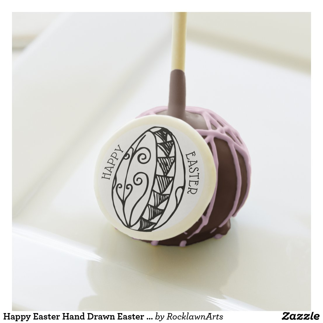 Happy Easter Hand Drawn Easter Egg Line Drawing Cake Pops