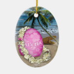 Happy Easter Hawaiian Style Double-Sided Oval Ceramic Christmas Ornament