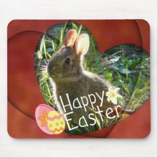 Happy Easter Heart Bunny Rabbit Mousepad