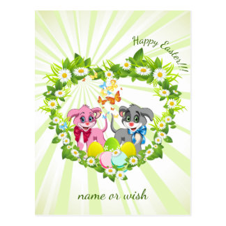 Happy Easter Heart Nose Puppies Cartoon Postcard