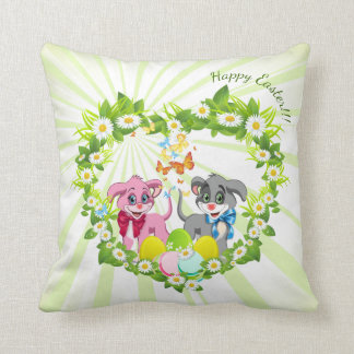 Happy Easter Heart Nose Puppies Cartoon Throw Pillow