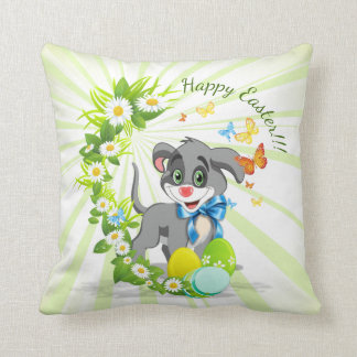 Happy Easter Heart Nose Puppy Cartoon Throw Pillow