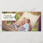 """Happy Easter Hello Spring Photo Card<br><div class=""""desc"""">Celebrate the arrival of Spring and send a Happy Easter greeting with this fun and stylish photocard.  Features a photo of your family and the welcome message of &quot;Happy Easter!&quot; in pastel typography. Matching postage and address labels also available</div>"""