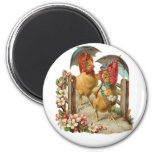 Happy Easter Hens 2 Inch Round Magnet