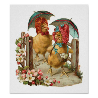 Happy Easter Hens Posters
