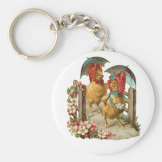 Happy Easter Hens Vintage Keychain