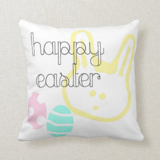 happy easter holiday eggs bunny pastel throw pillow