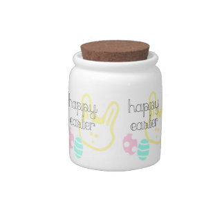 happy easter holiday pastel eggs bunny candy jars