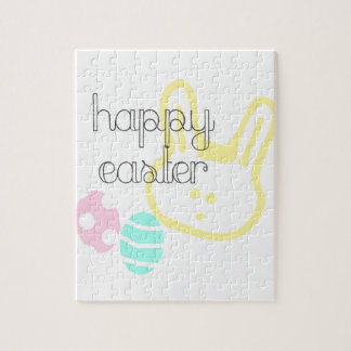 happy easter holiday pastel eggs bunny jigsaw puzzle