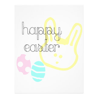 happy easter holiday pastel eggs bunny letterhead