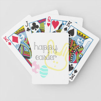 happy easter holiday pastel eggs bunny bicycle playing cards
