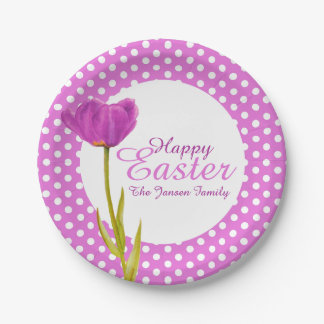 Happy Easter holidays purple party paper plate
