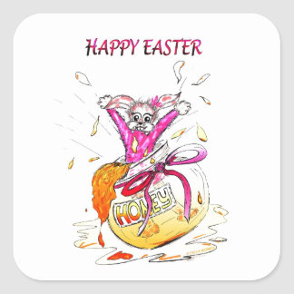 Happy Easter Honey Bunny fun pink Greeting Card Sticker