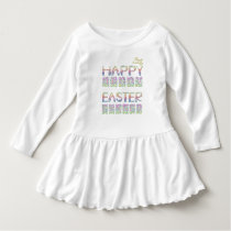 Happy Easter in rabbit letter Toddler Ruffle Dress