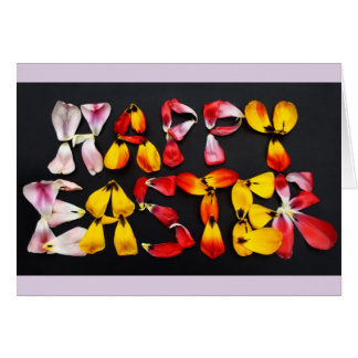 Happy Easter in tulip petals photograph Card