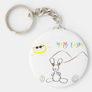 Happy Easter Kids Drawing Basic Round Button Keychain