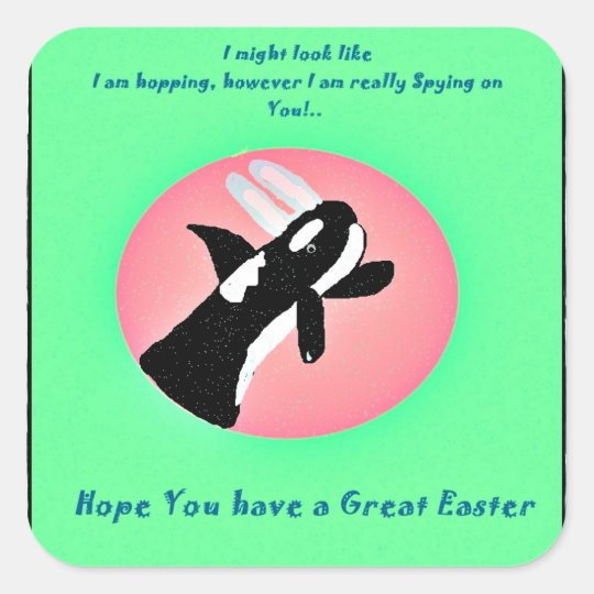 Happy Easter Killer Whale with Easter bunny ears s Square Sticker