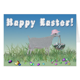 Happy Easter LaMancha Goat Greeting Cards