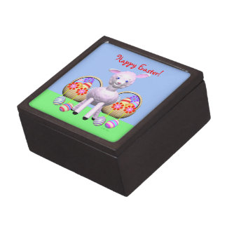 Happy Easter Lamb and Baskets Jewelry Box