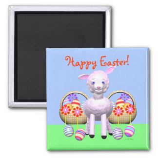 Happy Easter Lamb and Baskets Magnet
