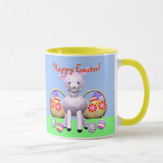 Happy Easter Lamb and Baskets Mug