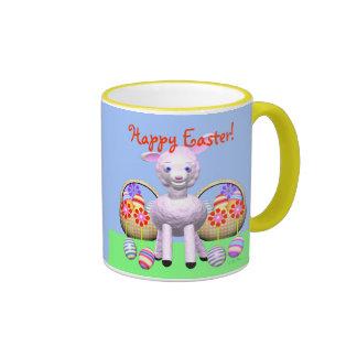 Happy Easter Lamb and Baskets Ringer Mug