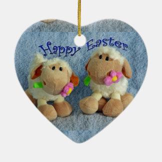 Happy Easter Lambs Ceramic Ornament