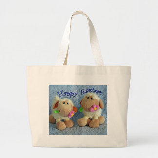 Happy Easter Lambs Large Tote Bag