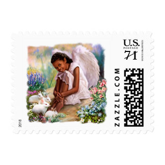 Happy Easter. Little Afro Angel Postage Stamps