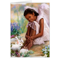 Happy Easter. Little Angel with Bunnies Cards